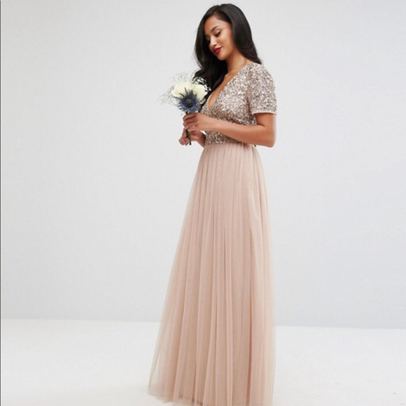 518e0136c8a V Neck Maxi Tulle Dress w  Tonal Delicate Sequins.  M 5bc8087edf0307e6f777730d